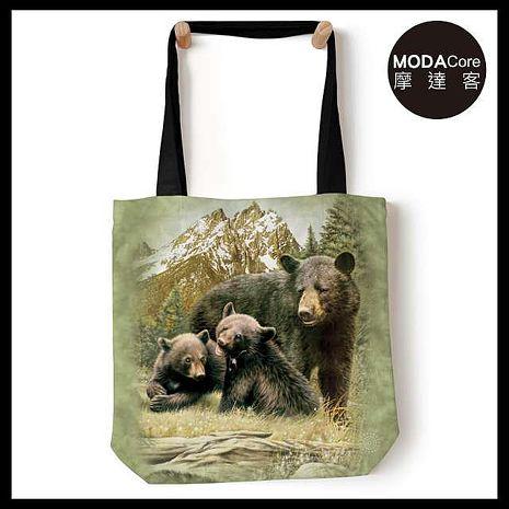 【摩達客】(預購) 美國The Mountain 黑熊家族 藝術環保托特包