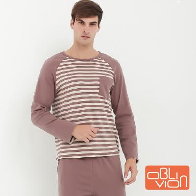 【OBLIVION】橫條紋棉質男士居家上衣