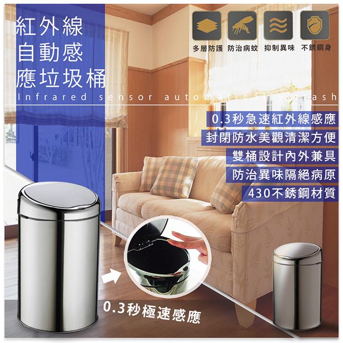 【FJ】時尚精品不鏽鋼智能感應垃圾桶(9公升)