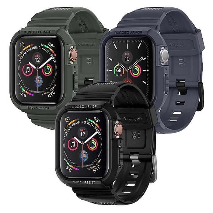SGP / Spigen Apple Watch Series 6/5/4/SE (44mm) Rugged Armor Pro-防摔保護殼專業版-三色(錶帶一體成型)(APP)