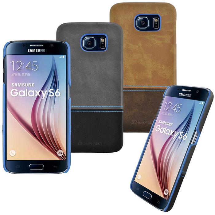 【Metal-slim】Samsung Galaxy S6 極薄雙色皮革保護殼咖啡