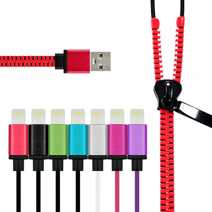 【M-BAO】拉鏈型USB充電線 ,搭配有IOS專用 及Micro USB(安卓)接頭