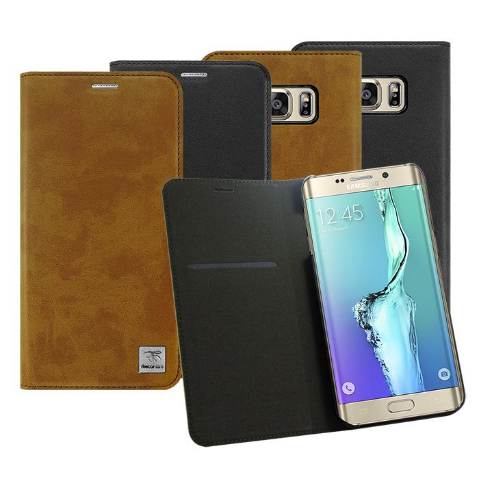 【Metal-slim】Samsung Galaxy S6 edge+ 時尚超薄瘋馬紋側翻皮套棕