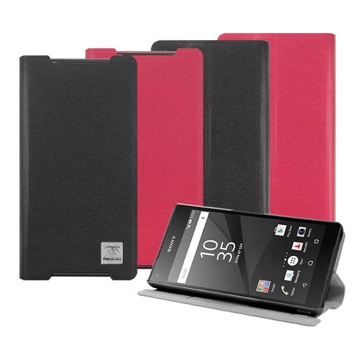 【 Metal-Slim】SONY Xperia Z5 Compact 超薄細紋PC內層站立皮套黑
