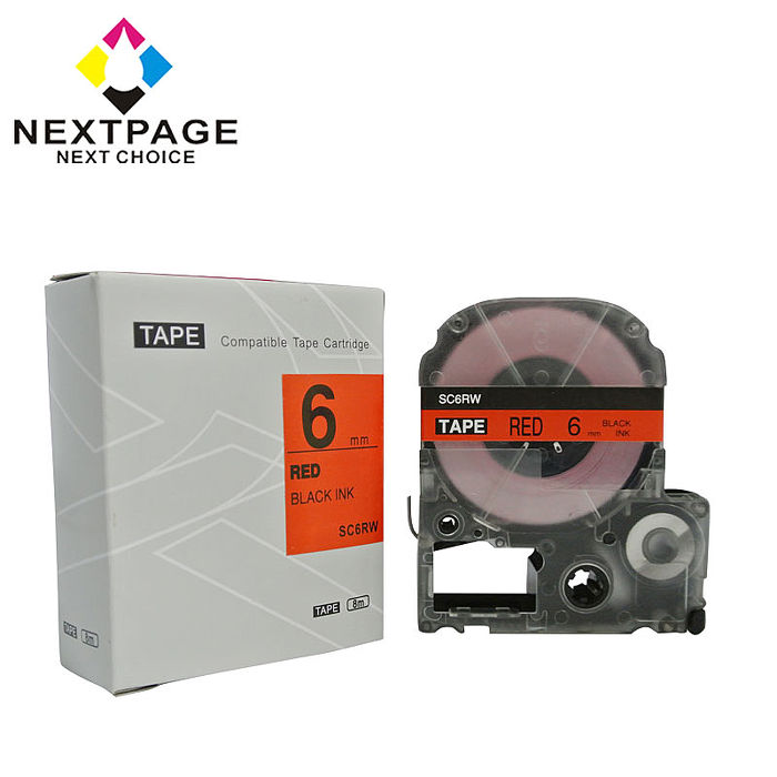 【NEXTPAGE】EPSON 一般相容標籤帶 LC-2RBP (紅底黑字 6mm)