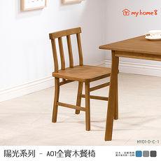 ~my home8~陽光系列A01全實木餐椅~木面淺胡桃色,同步外銷 可靠手感溫潤