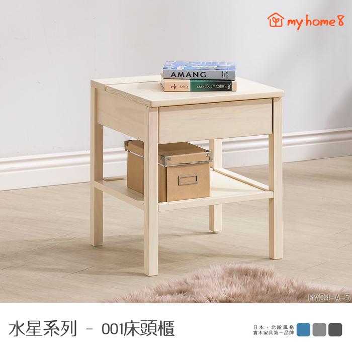 【my home8】★外銷日本品質★水星系列001全實木床頭櫃 矮櫃
