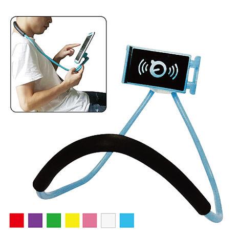 [17光棍] 創新頸掛式手機懶人支架 (隨機出貨) 蛇管 360度旋轉 沙發上 床上 HTC SONY iPhone6/7 三星 LG