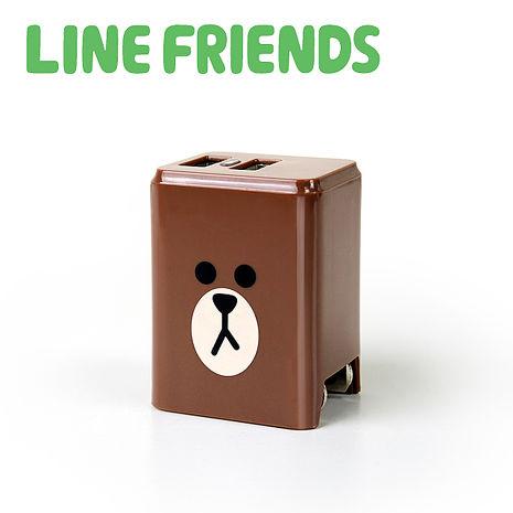 LINE FRIENDS 2.4A隱藏式雙孔USB充電器-熊大 LN-AC240