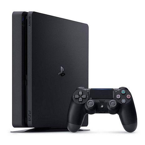 SONY PS4主機 CUH-2017系列500GB-極致黑+副廠直立架-黑(lV-P4S006)+副廠雙手把充電座全配