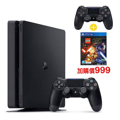 強力來襲 SONY PS4 2017 1TB-極致黑+黑手把 -專( ZCT2G)+ 樂高星際大戰:原力覺醒遊戲-專