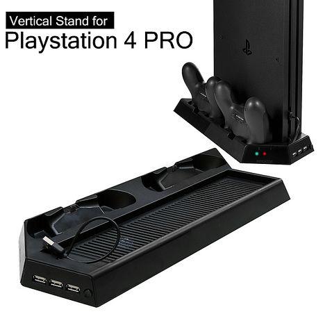 『加購』PS4 PRO主機專用直立架含雙手把坐充及散熱風扇KJHPS4PRO-03KJHPS4PRO-03-黑