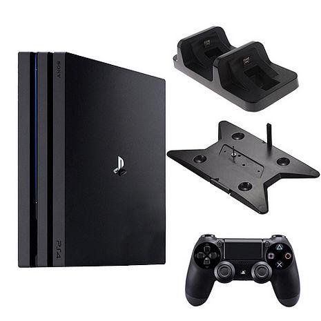SONY PS4 Pro 7117 1TB-主機黑+slim/pro主機雙用直立架-黑KJH-ps4slim-pro+DOBE手把充電座