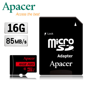 Apacer宇瞻 16GB MicroSDHC UHS-I Class10記憶卡85MB/s