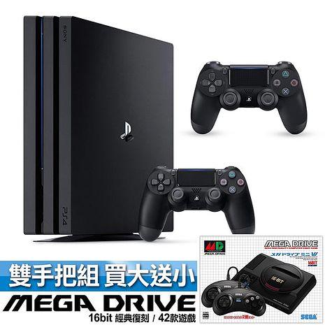 SONY PS4 Pro 1TB 雙手把主機同捆組-極致黑(ASIA-00369)加贈 SEGA 迷你復刻 Mega Drive Mini 主機
