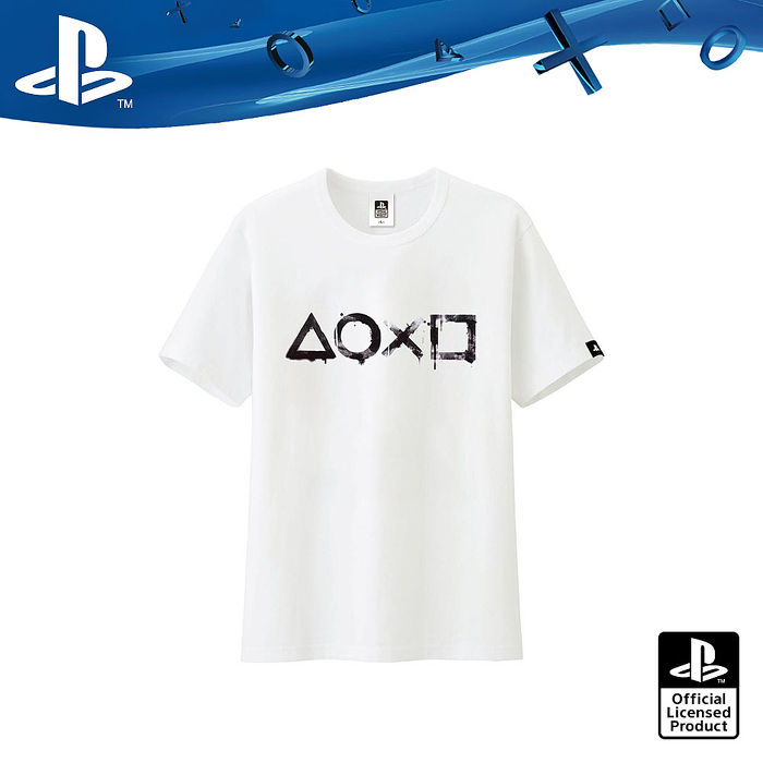 PlayStation 幾何元素符號 水墨洗染風T恤-白色(OLP-TEE-05)