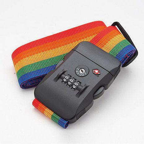 高密度緞帶材質 更牢固耐用 炫彩海關鎖行李綁帶
