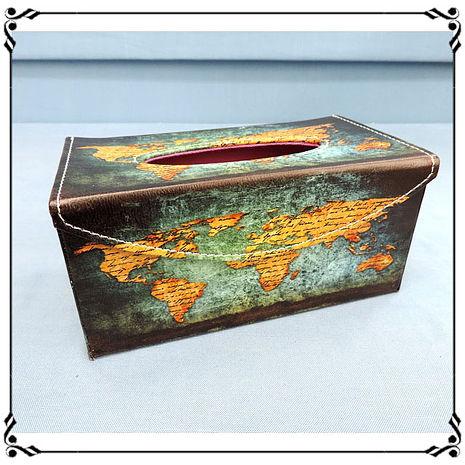 【妙妙家居】掀蓋磁扣面紙盒《LD24》工業風 世界地圖皮革面紙盒 紙巾盒 收納盒 新居落成◎任選兩件499◎