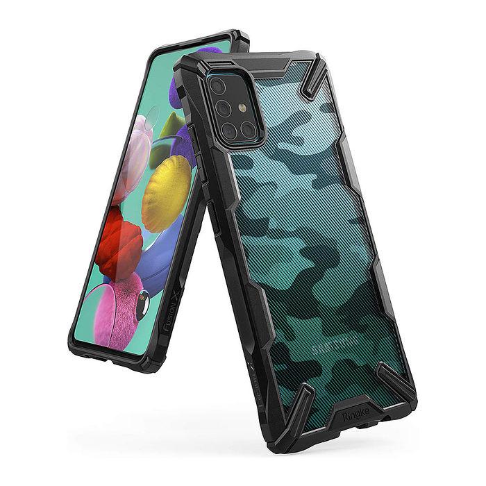 Rearth 三星 Galaxy A51 (Ringke Fusion X) 迷彩抗震保護殼
