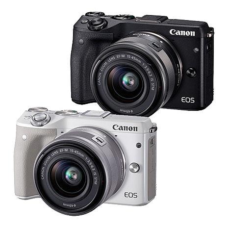 Canon EOS M3 15-45mm KIT 單鏡組(公司貨)-送32G記憶卡+保護鏡+吹球清潔組+拭鏡筆+防潮箱黑