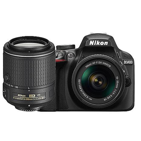 【領券折】Nikon D3400 18-55mm + DX 55-200mm VR II (公司貨)-送32G記憶卡+相機包+保護鏡X2+小清潔組+保護貼(單機下殺)