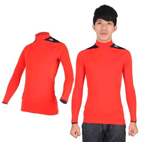 【ADIDAS】男保暖長袖上衣- 愛迪達 長T恤 刷毛 橘黑