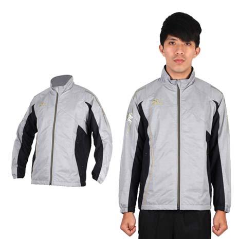 【MIZUNO】男半長風衣外套- 發熱衣 防潑水 美津濃 淺灰金XL