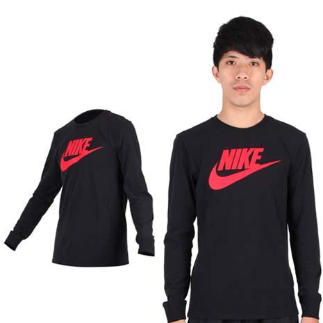 【NIKE】男長袖T恤-針織衫 圓領 棉T 慢跑 路跑 黑紅