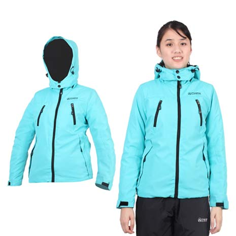 【FIRESTAR】女舖棉外套-可拆帽外套 連帽外套 保暖外套 防風外套 湖水綠黑XL