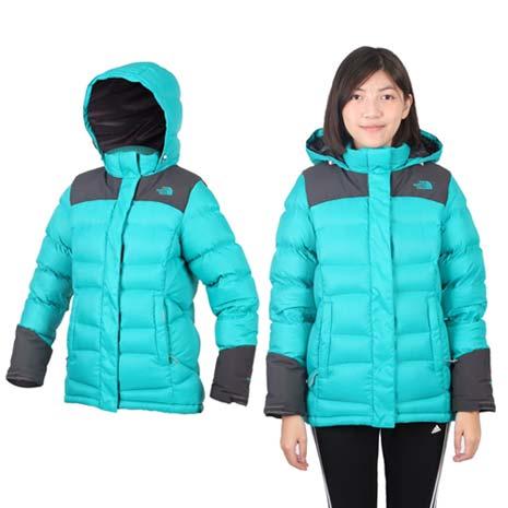 【THE NORTH FACE】女800 FILL羽絨兜帽外套-保暖 防風 湖水綠