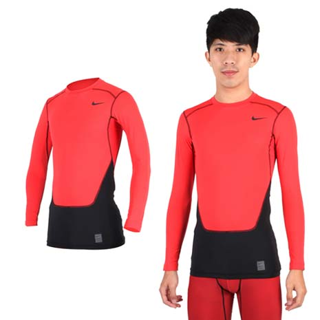 【NIKE】PRO COMBAT男長袖緊身衣-保暖 慢跑 健身 重訓 T恤 橘紅黑M