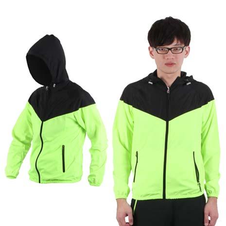 【SOFO】男連帽風衣外套-防風外套 螢光綠黑M