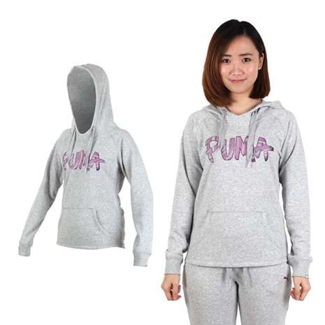 【PUMA】女連帽長厚T恤-帽T 慢跑 路跑 灰紫L