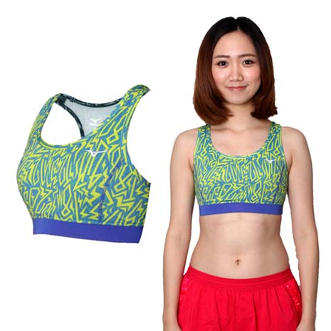 【MIZUNO】女運動內衣- 運動背心 BRA 美津濃 路跑 慢跑 瑜珈 芥末黃藍