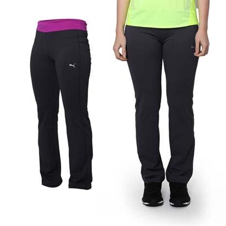 【PUMA】女款修身褲型運動長褲 -運動 慢跑 路跑 瑜珈 深灰紫
