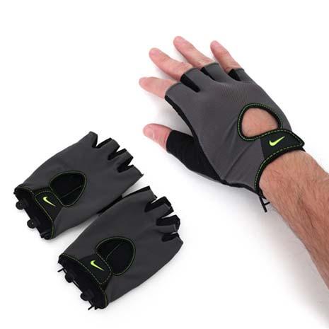 【NIKE】男基礎健力手套-重量訓練 健身 防滑 灰螢光綠XL