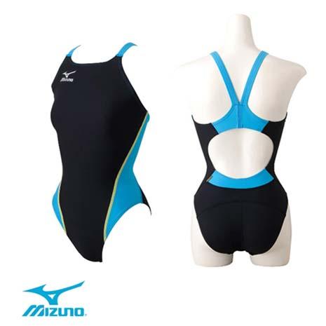 【MIZUNO】SWIM EXER SUITS女泳衣- 游泳 競賽 美津濃 黑水藍
