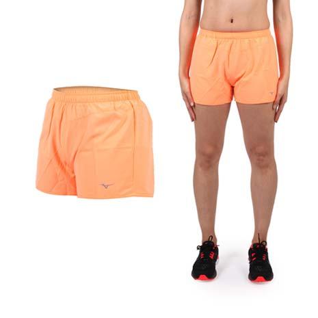 【MIZUNO】女路跑短褲- 美津濃 慢跑 路跑 休閒 運動 鐵人三項 亮橘XL