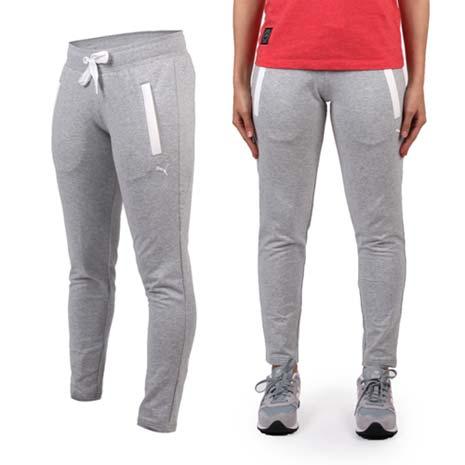 【PUMA】女棉質長褲-慢跑 路跑 瑜珈 有氧 休閒 運動 淺灰白