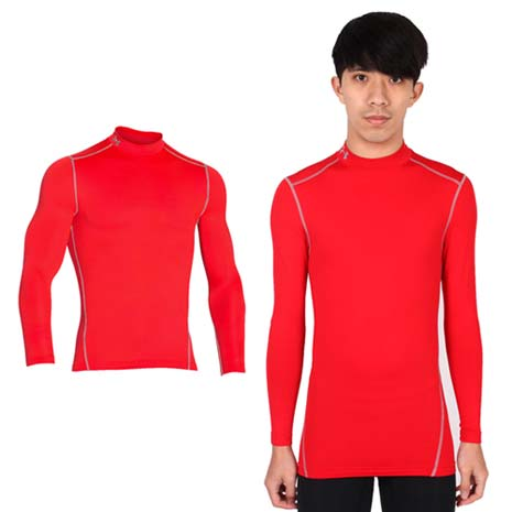 【UNDER ARMOUR】UA CG ARMOUR男半高領長袖T恤 紅灰XL