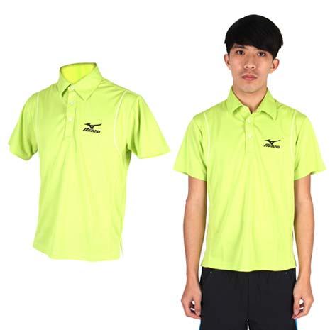 【MIZUNO】男短袖POLO衫- 高爾夫球 立領 休閒 美津濃 淺綠黑