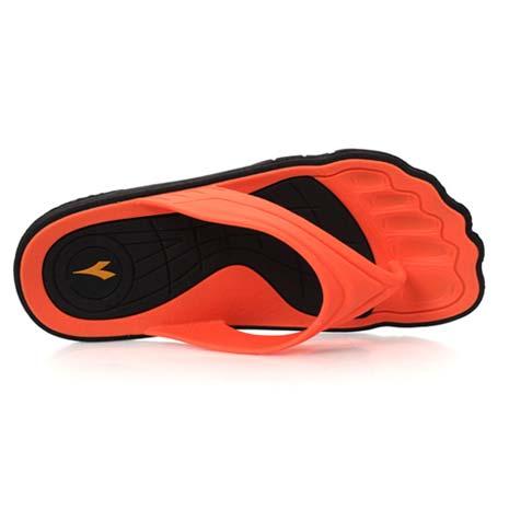 【DIADORA】男女大童拖鞋-拖鞋 夾腳拖 人字拖 海邊 黑橘