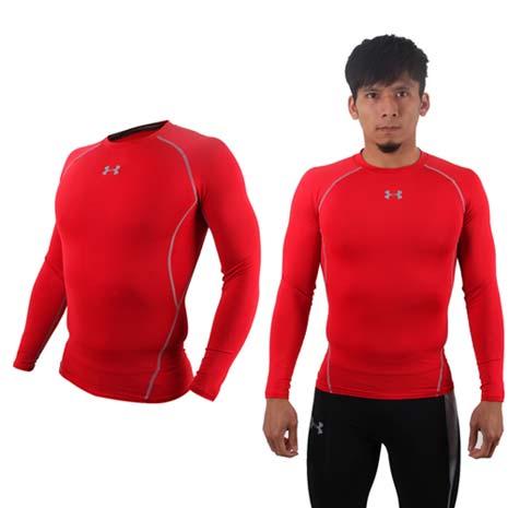 【UNDER ARMOUR】UA HG ARMOUR男長袖T恤 紅灰M