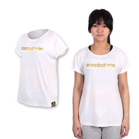 【NEWBALANCE】女印花短袖T恤-NB 短T 棉T 慢跑 路跑 白金S
