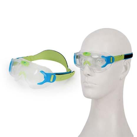 【SPEEDO】SEA SQUAD 男女幼童進階面罩泳鏡-游泳 防霧鏡片 藍綠F