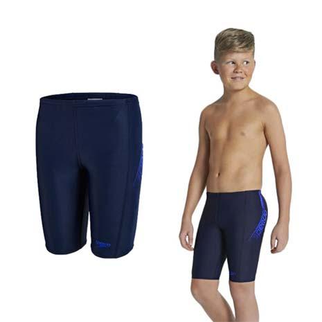 【SPEEDO】LOGO PANEL男競技及膝泳褲-游泳 四角 平口 丈青藍