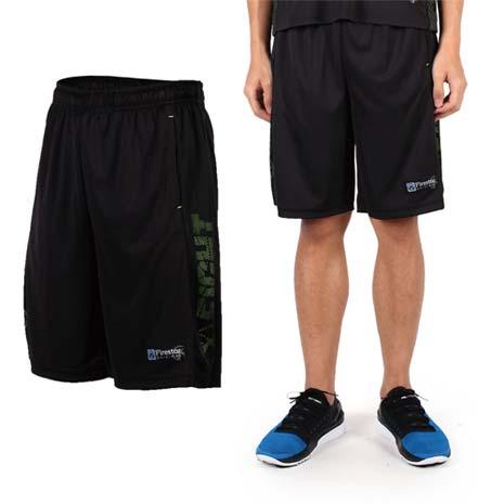【FIRESTAR】男吸排籃球褲-運動短褲 休閒短褲 黑綠XL