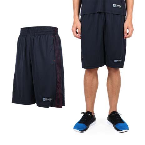 【FIRESTAR】男吸排籃球褲-運動短褲 休閒短褲 丈青亮橘XL