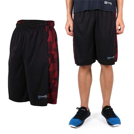【FIRESTAR】男吸排籃球褲-運動短褲 休閒短褲 黑紅L