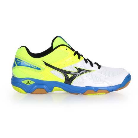 【MIZUNO】WAVE TWISTER 4 男女排球鞋-美津濃 螢光綠白